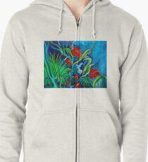 Tropical Flowers Zipped Hoodie