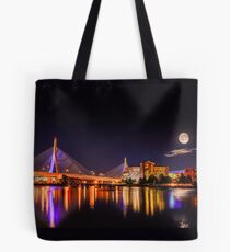 Moon light over Zakim bridge Tote Bag