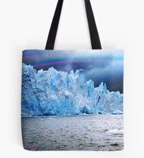 Rain and rainbow on Perito Moreno Glacier Tote Bag