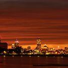 Boston, Christmas night Sun dusk by LudaNayvelt