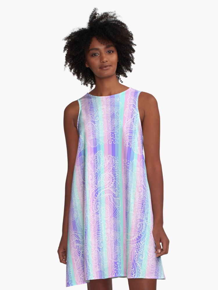 Stripes of pastel harmony A-Line Dress Front