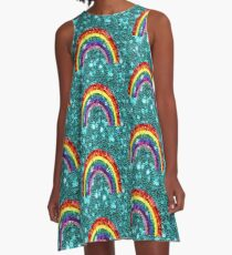 Rainbow Sequin Look Colorful  A-Line Dress