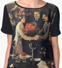 A political poster, the Soviet Union, Stalin, the leadership of the Soviet Union, the people, applause Chiffon Top