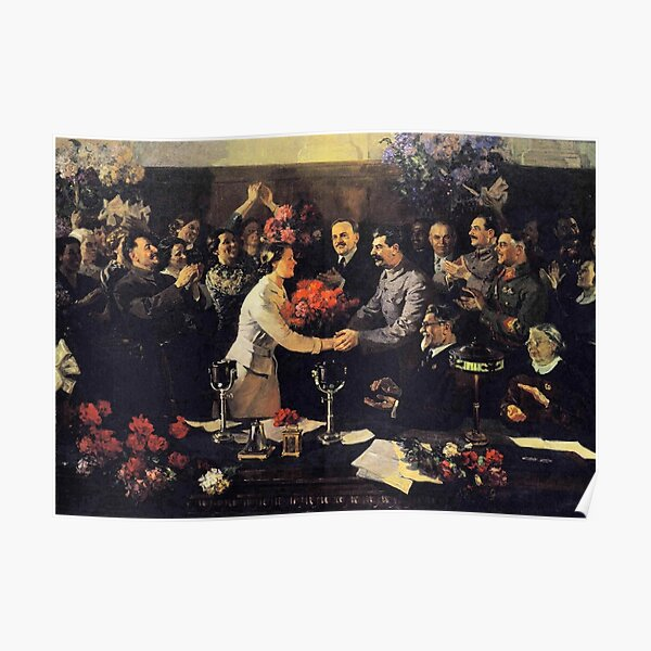 A political poster, the Soviet Union, Stalin, the leadership of the Soviet Union, the people, applause Poster