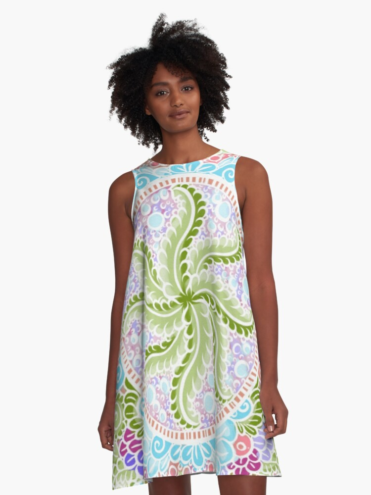 As Spring blooms , Kawaii, spring, flowers A-Line Dress Front