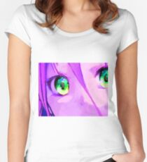 Anime Girl Eyes Pink Women's Fitted Scoop T-Shirt