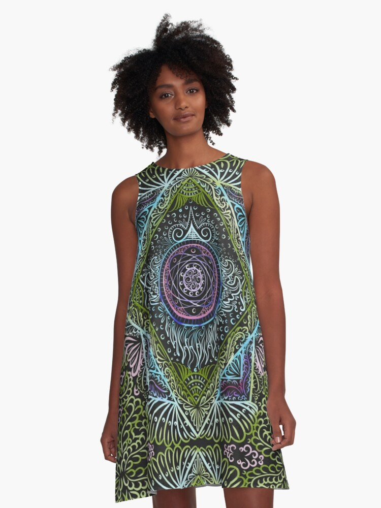 New awaken - Black version, reiki, healing, chakra A-Line Dress Front