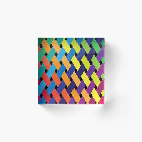 Woven Rainbow Color Acrylic Block