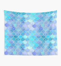 Aqua Pearlescent & Gold Mermaid Scale Pattern Wall Tapestry