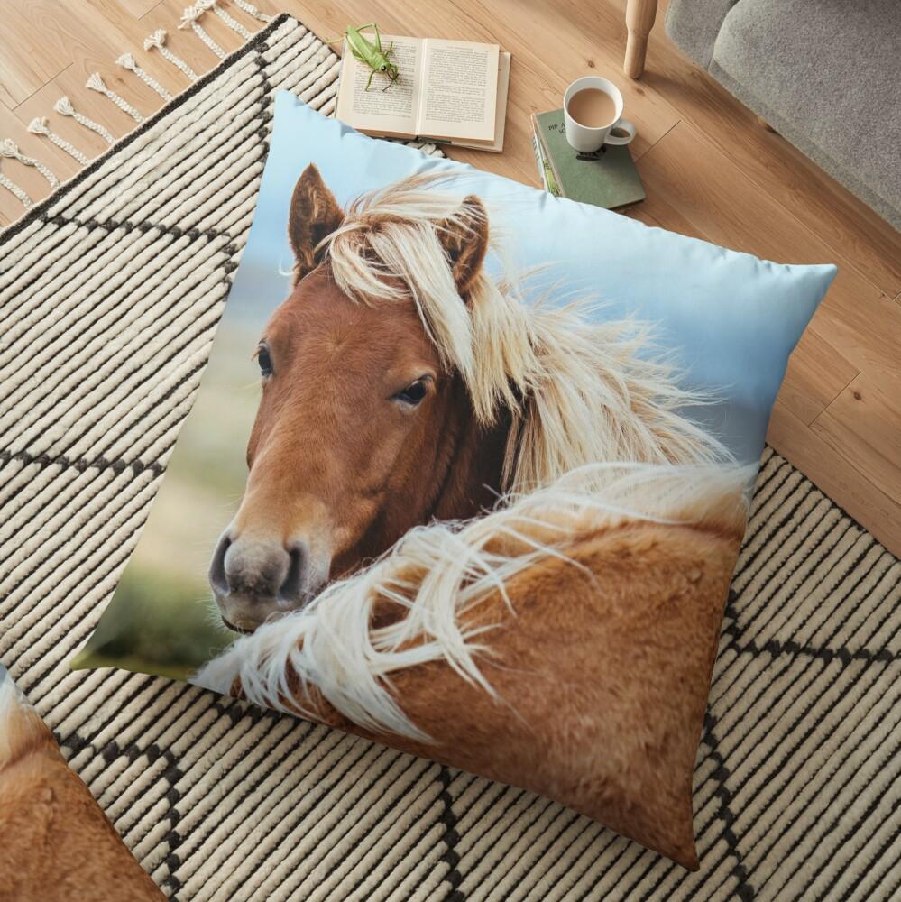The stunning Icelandic Pony. Floor Pillow