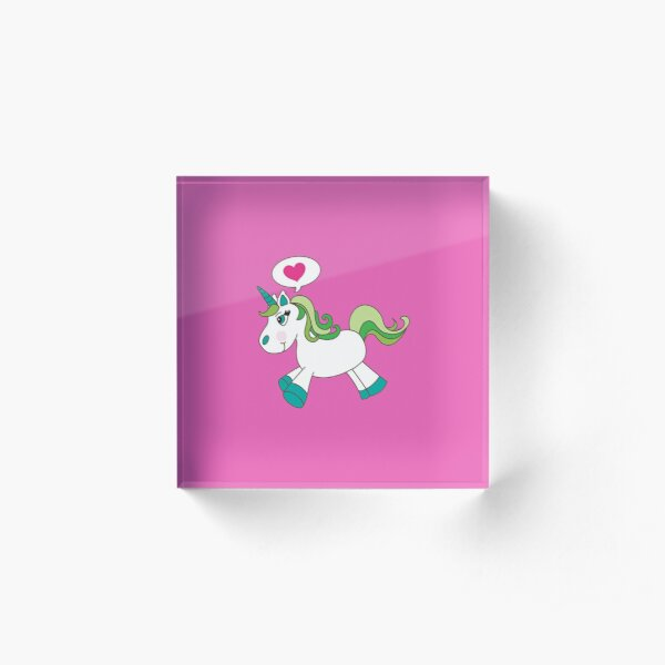 I Heart U Unicorn #Supercutebowl Acrylic Block