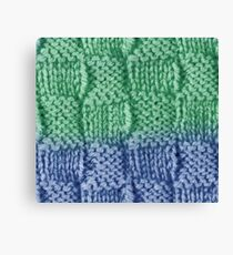 Knitted Wool square blue green Canvas Print