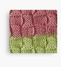 Knitted Wool square pink green Canvas Print