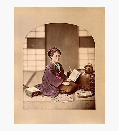 Japanese girl reading Photographic Print