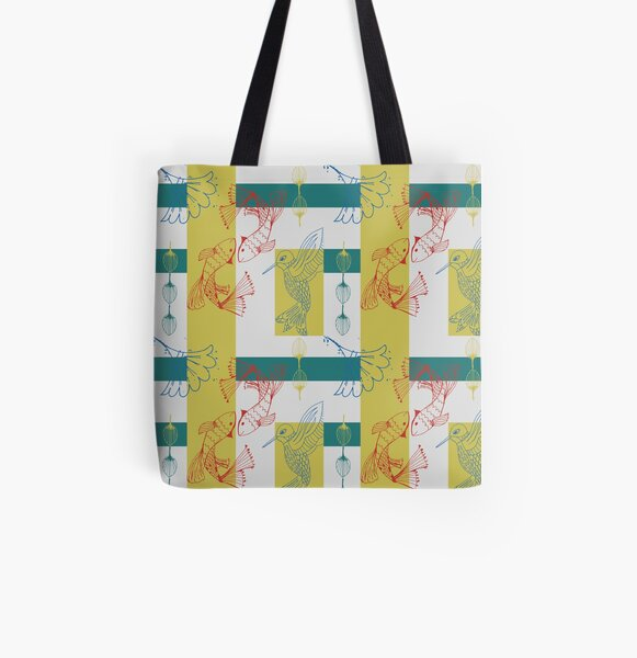 Kabuki Kingdom with Bird All Over Print Tote Bag