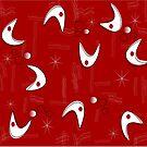 Boomerangs in Red by Gail Gabel, LLC