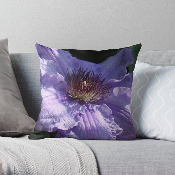 Purple Dreamer - Clematis Throw Pillow