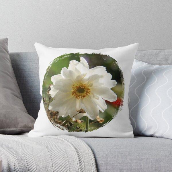 White Beauty - Japanese Anemone Throw Pillow