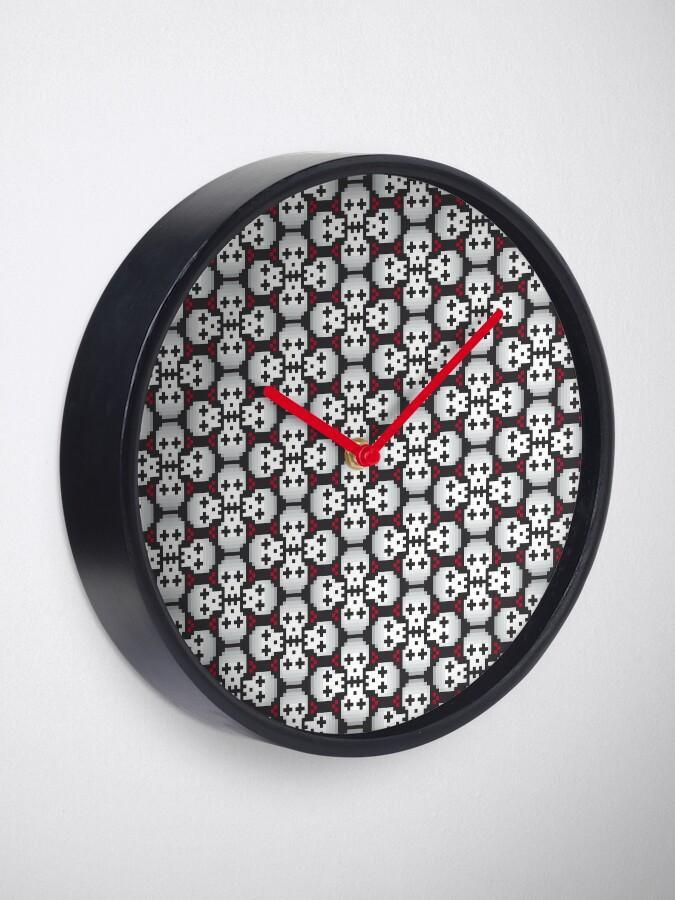 Alternate view of Pixelated skulls pattern Clock