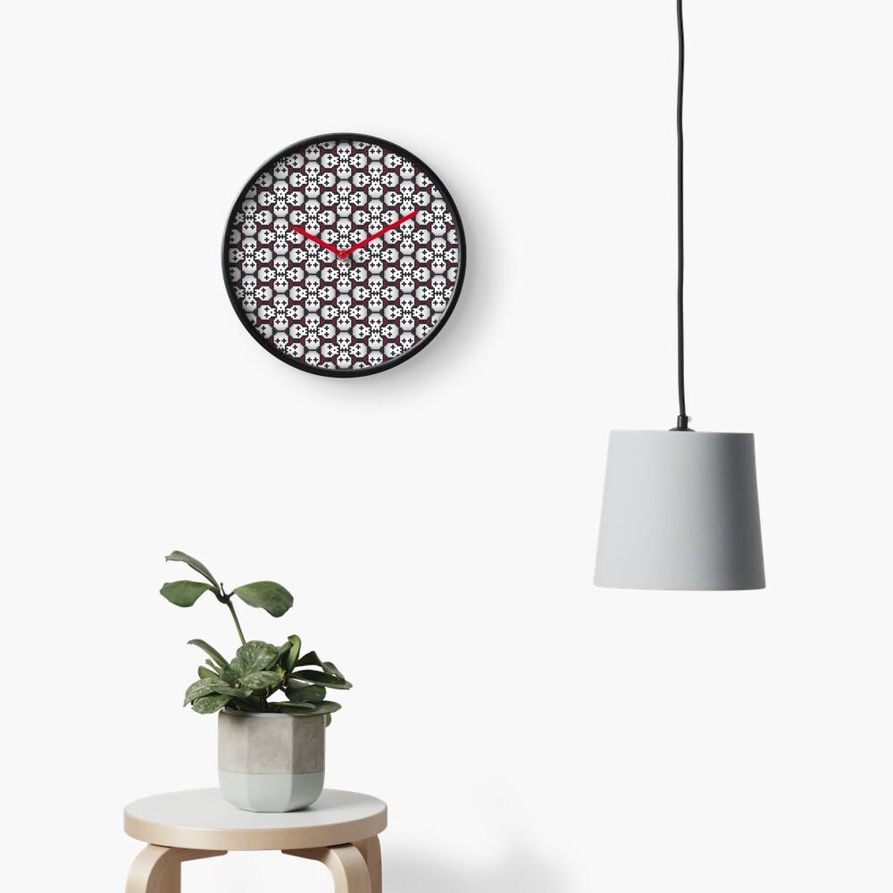 Pixelated skulls pattern Clock