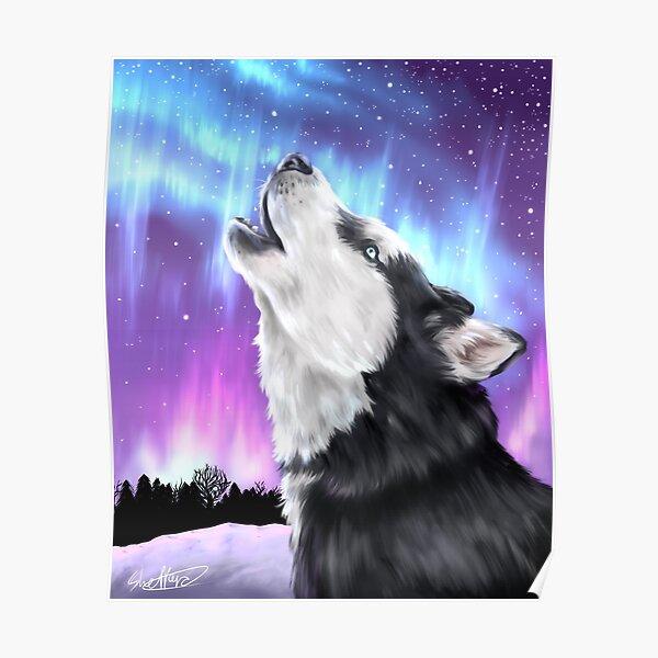 Northern Lights, Howling Husky   Siberian Husky Dog Artwork Poster