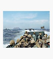 US Marines in a LCVP approaching Iwo Jima, Japan, 19 Feb 1945 Photographic Print