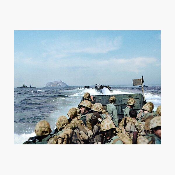 US Marines in a LCVP approaching Iwo Jima, Japan, 19 Feb 1945 Photographic Print