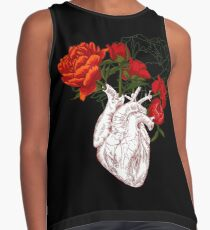 drawing Human heart with flowers Contrast Tank
