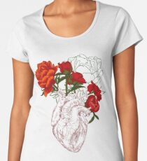 drawing Human heart with flowers Women's Premium T-Shirt