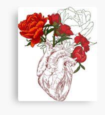 Lienzo metálico dibujo corazón humano con flores