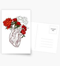 drawing Human heart with flowers Postcards