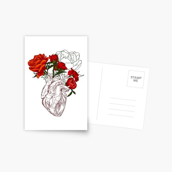drawing Human heart with flowers Postcard