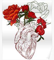 Zeichnen Menschliches Herz mit Blumen Poster