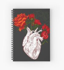 drawing Human heart with flowers Spiral Notebook