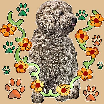 Goldendoodle flowers and pawprints by IowaArtist