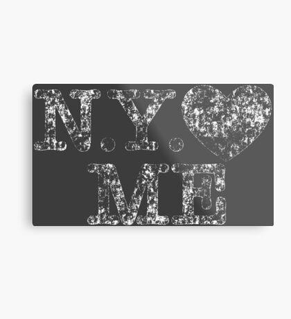 NY Love Me Retro Vintage Metal Print