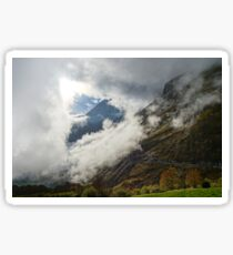 Over the clouds in high mountains, Pyrenees, foggy and cloudy, France Sticker