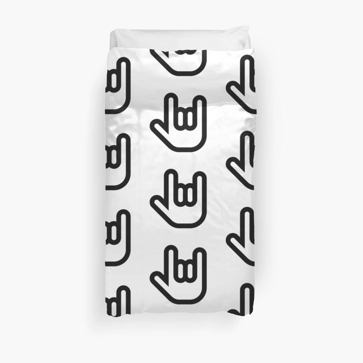 Heavy Metal Hand Symbol Duvet Covers By Occultart Redbubble