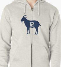 f9aa77390 Goat Tom Brady 12 Merchandise Zipped Hoodie