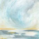 Thankful - Gray and Yellow Ocean Seascape by KristenLacziArt
