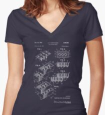 Lego Patent - Dark Background Women's Fitted V-Neck T-Shirt
