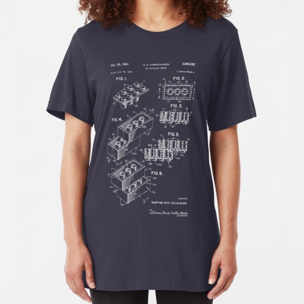 Lego Patent - Dark Background Slim Fit T-Shirt