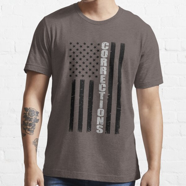 Thin Silver Line American Flag Correctional Officer Essential T-Shirt