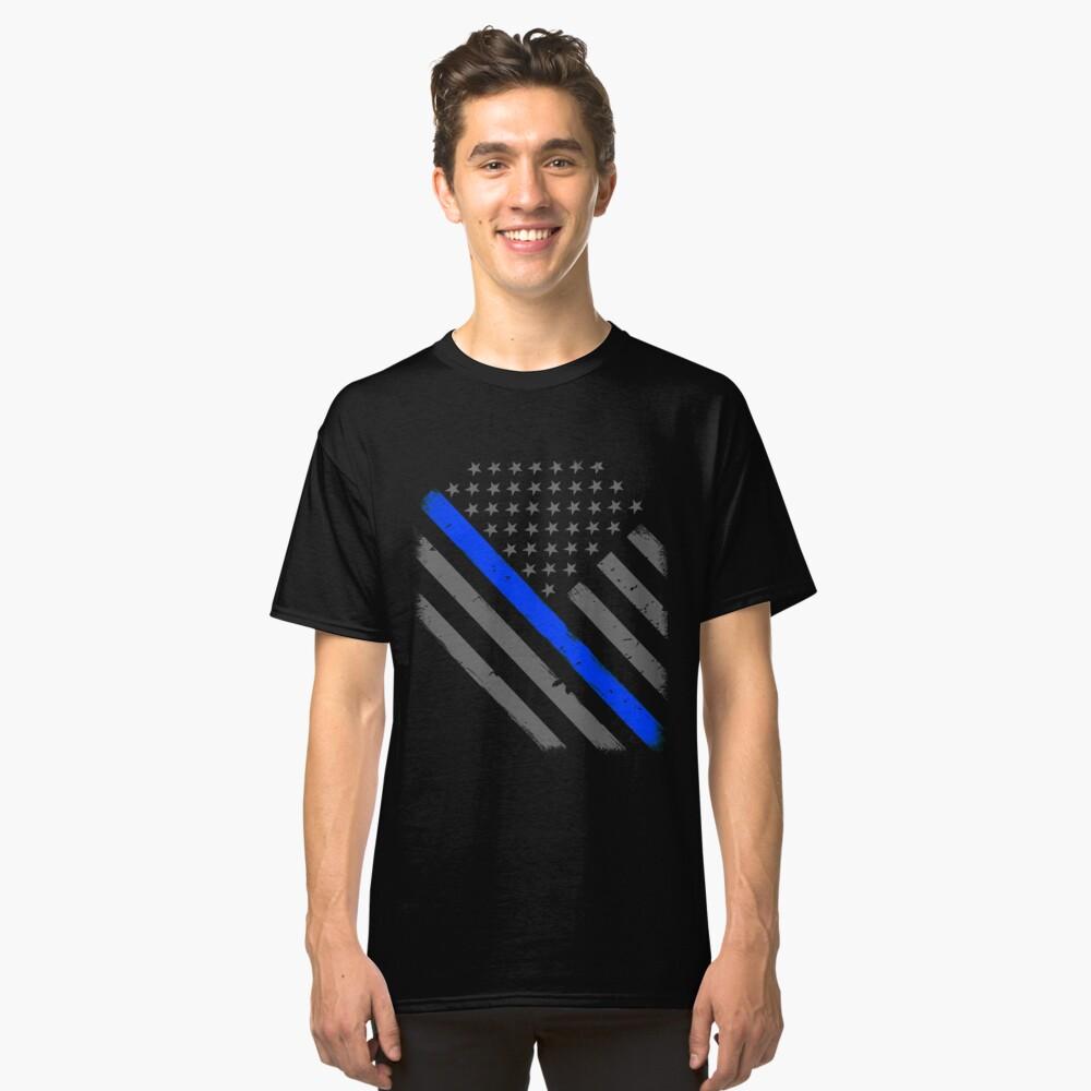 Polizist Flagge dünne blaue Linie Unterstützung Classic T-Shirt