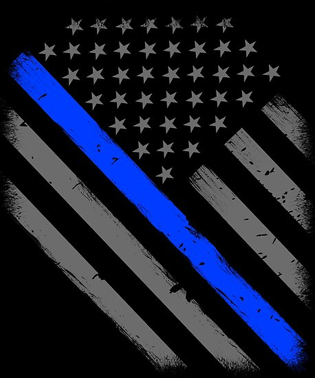 Police Officer Flag Thin Blue Line Support