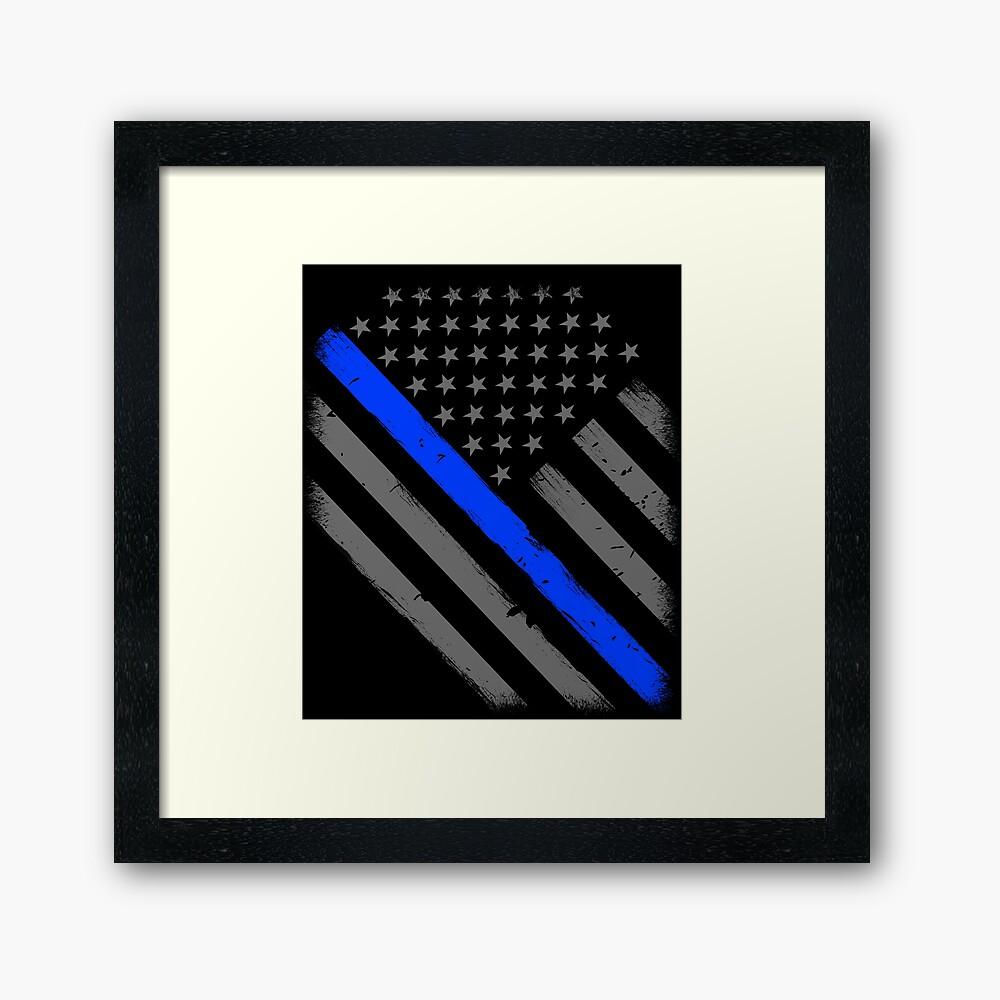 Polizist Flagge dünne blaue Linie Unterstützung Gerahmter Kunstdruck