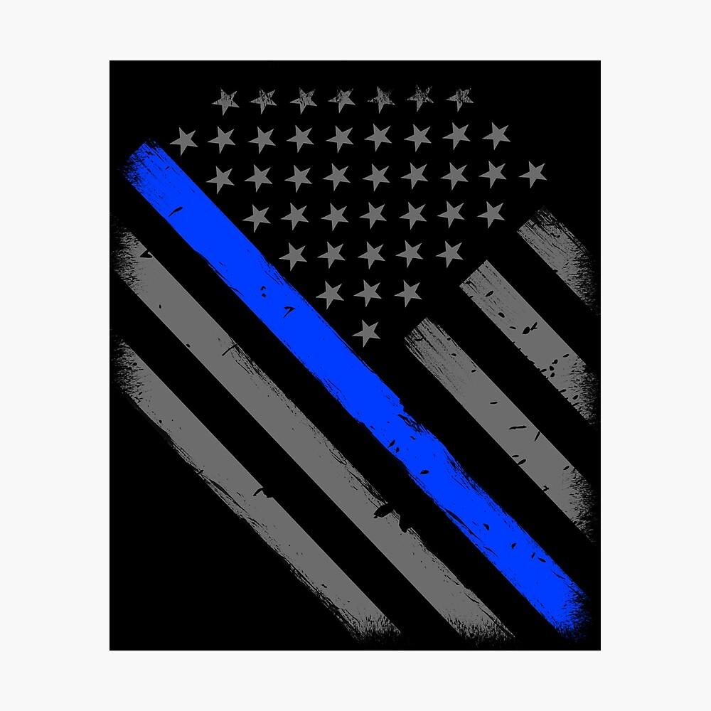Polizist Flagge dünne blaue Linie Unterstützung Fotodruck