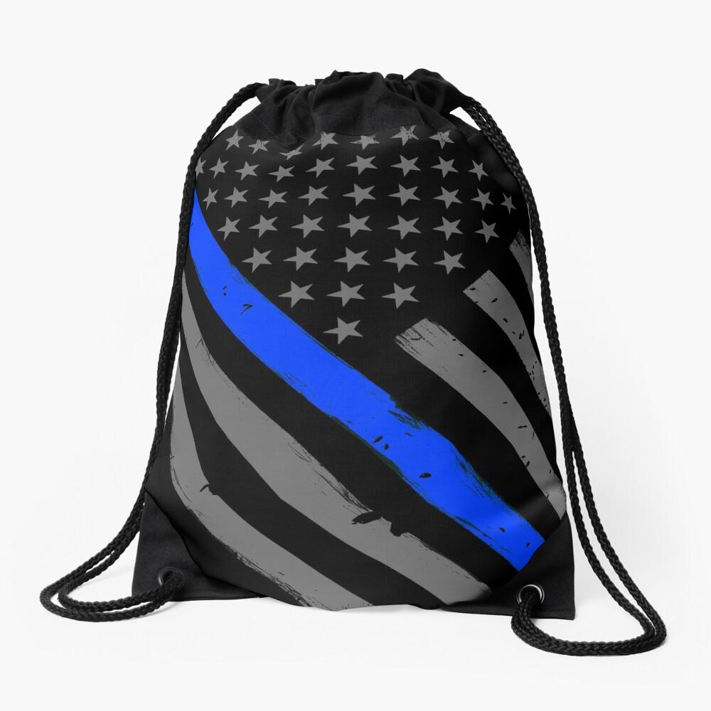 Polizist Flagge dünne blaue Linie Unterstützung Turnbeutel