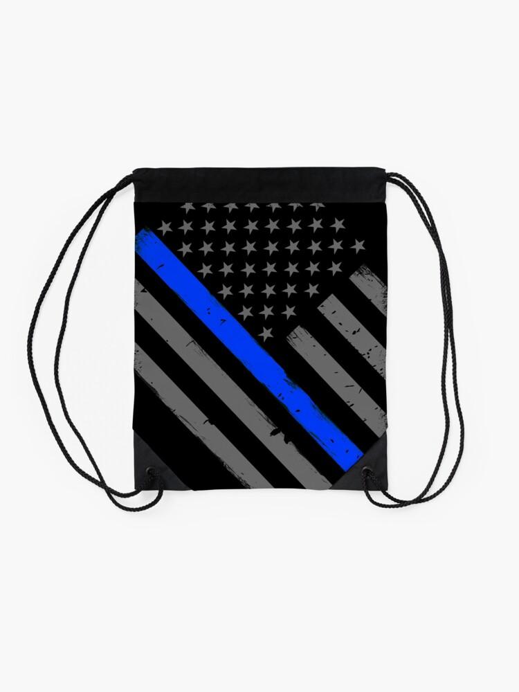 Alternative Ansicht von Polizist Flagge dünne blaue Linie Unterstützung Turnbeutel