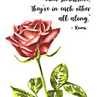 Watercolor Rose with Love Quote by Erika Lancaster